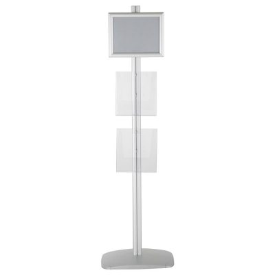 free-standing-stand-in-silver-color-with-1-x-8.5X11-frame-in-portrait-and-landscape-and-2-x-8.5x11-clear-pocket-shelf-single-sided-13