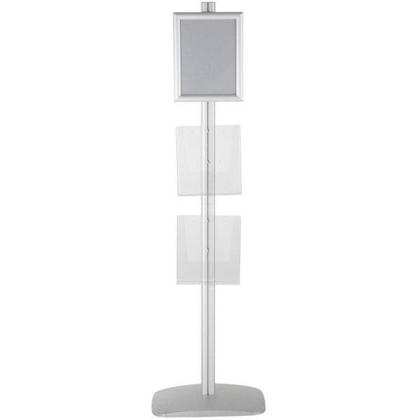 free-standing-stand-in-silver-color-with-1-x-8.5X11-frame-in-portrait-and-landscape-and-2-x-8.5x11-clear-pocket-shelf-single-sided
