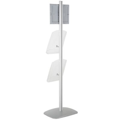 free-standing-stand-in-silver-color-with-1-x-8.5X11-frame-in-portrait-and-landscape-and-2-x-8.5x11-clear-shelf-in-acrylic-single-sided-8