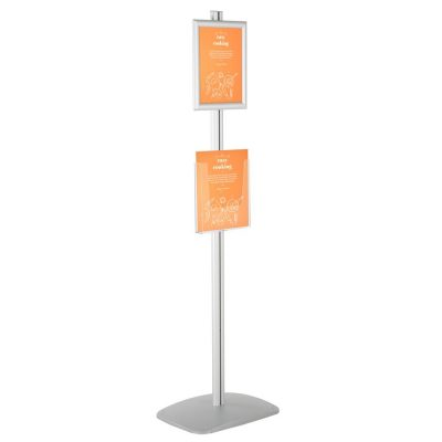 free-standing-stand-in-silver-color-with-1-x-8.5x11-frame-in-portrait-and-landscape-and-1-x-8.5x11-clear-pocket-shelf-single-sided-4
