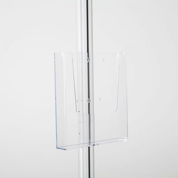 free-standing-stand-in-silver-color-with-1-x-8.5x11-frame-in-portrait-and-landscape-and-1-x-8.5x11-clear-pocket-shelf-single-sided-8