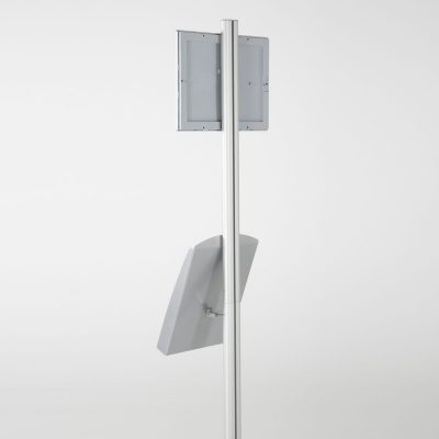 free-standing-stand-in-silver-color-with-1-x-8.5x11-frame-in-portrait-and-landscape-and-1-x-8.5x11-steel-shelf-single-sided-8