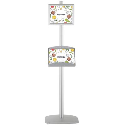 free-standing-stand-in-silver-color-with-1-x-8.5x11-frame-in-portrait-and-landscape-and-2-x-5.5x8.5-steel-shelf-single-sided-4