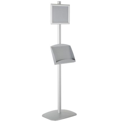 free-standing-stand-in-silver-color-with-1-x-8.5x11-frame-in-portrait-and-landscape-and-2-x-5.5x8.5-steel-shelf-single-sided