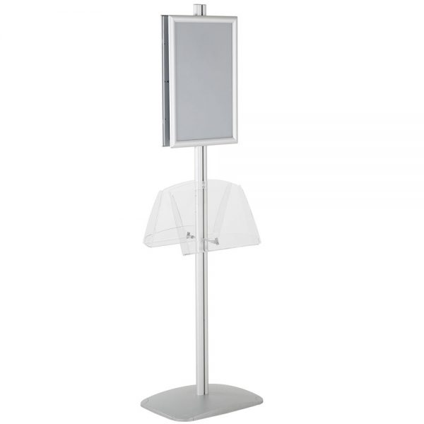 free-standing-stand-in-silver-color-with-2-x-11X17-frame-in-portrait-and-landscape-and-2-2-x-8.5x11-clear-shelf-in-acrylic-double-sided-11
