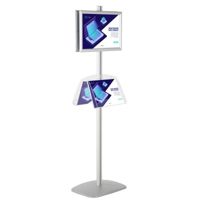free-standing-stand-in-silver-color-with-2-x-11X17-frame-in-portrait-and-landscape-and-2-2-x-8.5x11-clear-shelf-in-acrylic-double-sided-4
