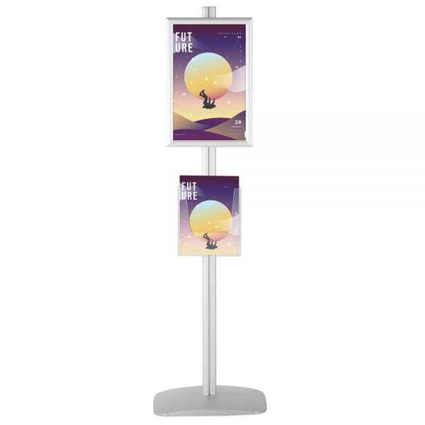 free-standing-stand-in-silver-color-with-2-x-11X17-frame-in-portrait-and-landscape-and-2-x-8.5x11-clear-pocket-shelf-double-sided-4