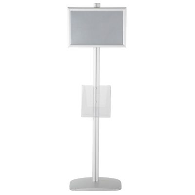 free-standing-stand-in-silver-color-with-2-x-11X17-frame-in-portrait-and-landscape-and-2-x-8.5x11-clear-pocket-shelf-double-sided-5