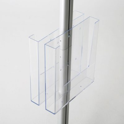 free-standing-stand-in-silver-color-with-2-x-11X17-frame-in-portrait-and-landscape-and-2-x-8.5x11-clear-pocket-shelf-double-sided-9