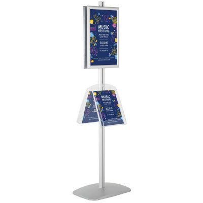 free-standing-stand-in-silver-color-with-2-x-11X17-frame-in-portrait-and-landscape-and-2-x-8.5x11-clear-shelf-in-acrylic-double-sided-4