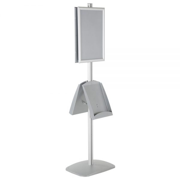 free-standing-stand-in-silver-color-with-2-x-11X17-frame-in-portrait-and-landscape-and-2-x-8.5x11-steel-shelf-double-sided-11