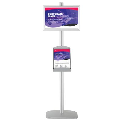 free-standing-stand-in-silver-color-with-2-x-11X17-frame-in-portrait-and-landscape-and-2-x-8.5x11-steel-shelf-double-sided-4