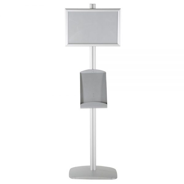 free-standing-stand-in-silver-color-with-2-x-11X17-frame-in-portrait-and-landscape-and-2-x-8.5x11-steel-shelf-double-sided-5