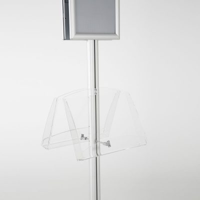 free-standing-stand-in-silver-color-with-2-x-8.5x11-frame-in-portrait-and-landscape-and-2-2-x-8.5x11-clear-shelf-in-acrylic-double-sided-8