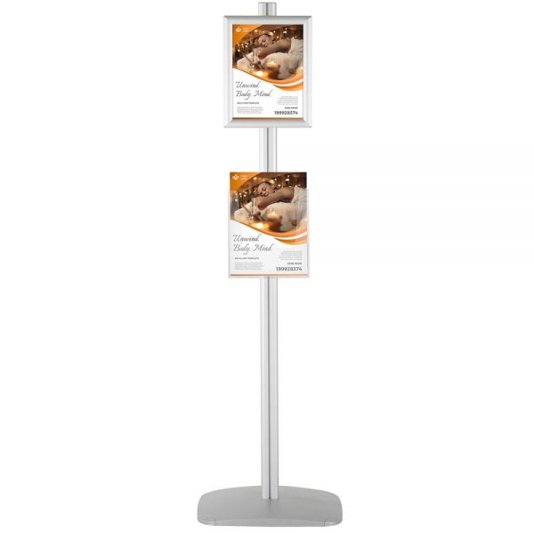 free-standing-stand-in-silver-color-with-2-x-8.5x11-frame-in-portrait-and-landscape-and-2-x-8.5x11-clear-pocket-shelf-double-sided-4