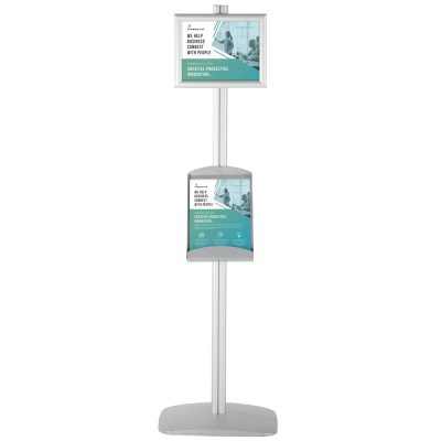 free-standing-stand-in-silver-color-with-2-x-8.5x11-frame-in-portrait-and-landscape-and-2-x-8.5x11-steel-shelf-double-sided-4