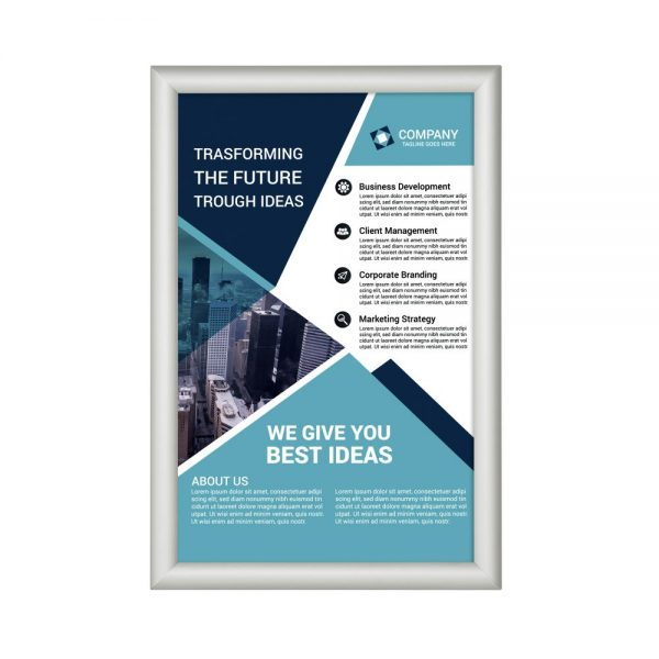 11x17-fire-resistant-snap-poster-frame-1-inch-silver-mitered-corner1