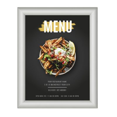 8-5x11-fire-resistant-snap-poster-frame-1-inch-silver-mitered-corner