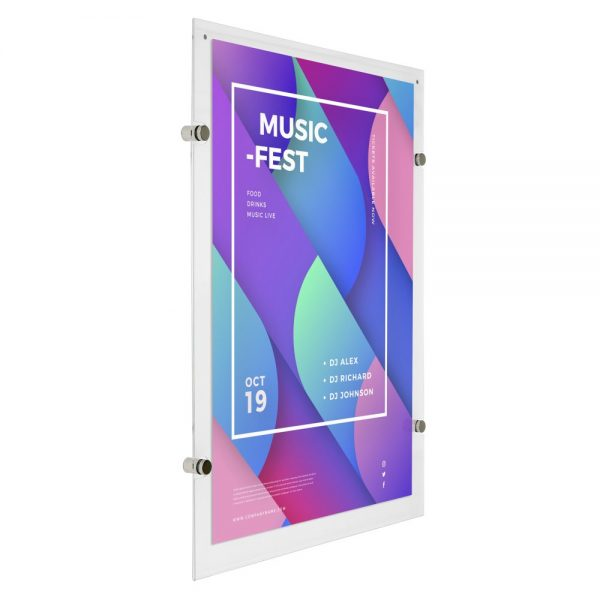 18x24-wall-mount-clear-acrylic-sign-holder-frame-chrome-silver (2)