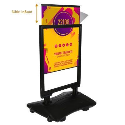 22w x 28h Slidein WindPro Black Frame Black Water Base Sidewalk Sign (3)