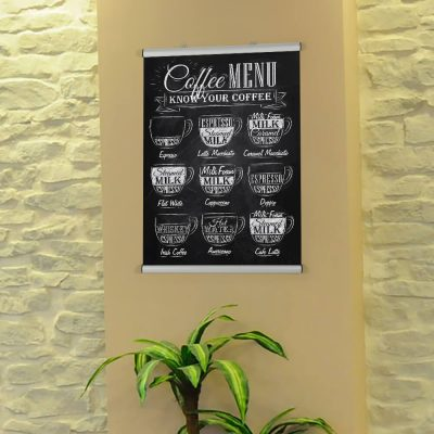 Poster of the Coffee menu in the Coffee shop