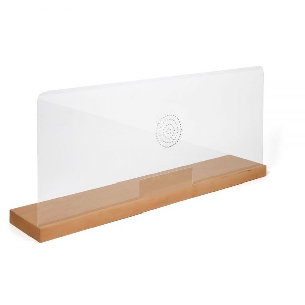 39-37w-x-16-53h-wood-framed-clear-hygienic-separator-on-counter-with-speaker-holes-natural-wood (1)