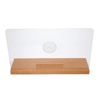 27-55w-x-16-53h-wood-framed-clear-hygienic-separator-on-counter-with-speaker-holes-natural-wood (3)