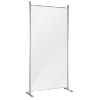 Clear wall separator with silver frame