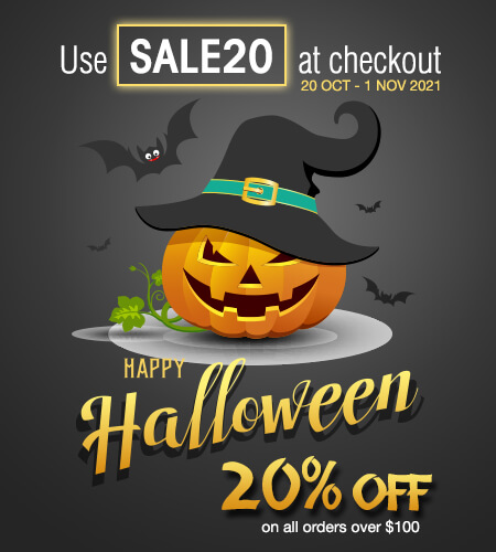 Halloween Graphic advertising the Halloween Sale - Use SALE20 at checkout for 20% orders over $100